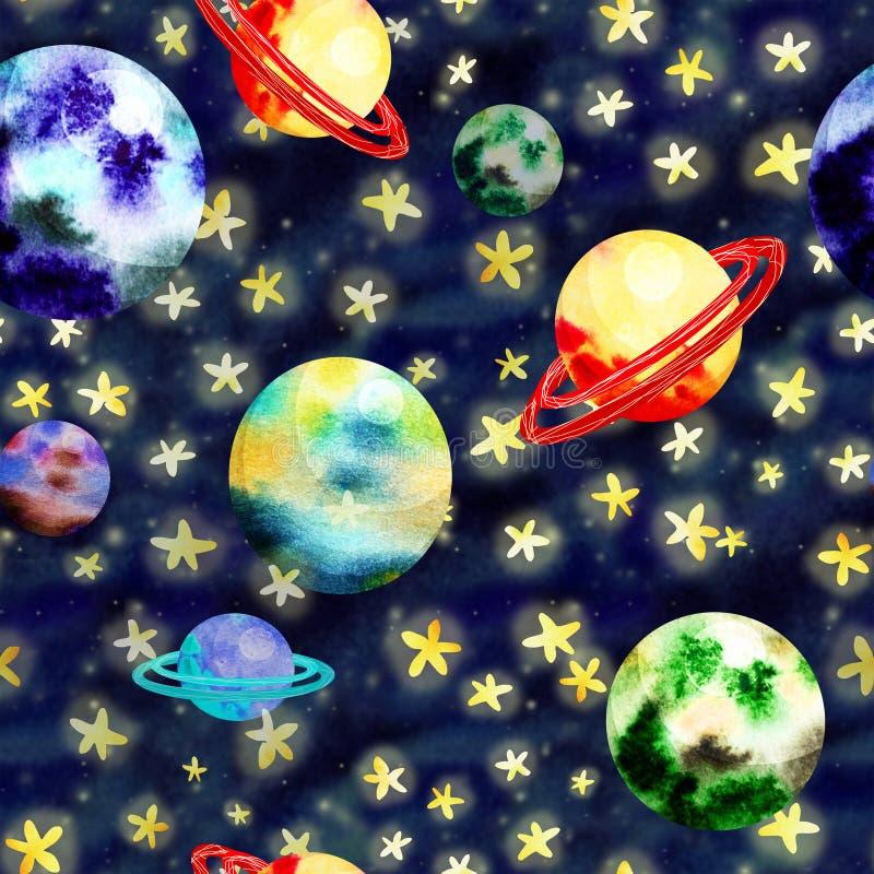 Картина космоса с планетами иллюстрация вектора