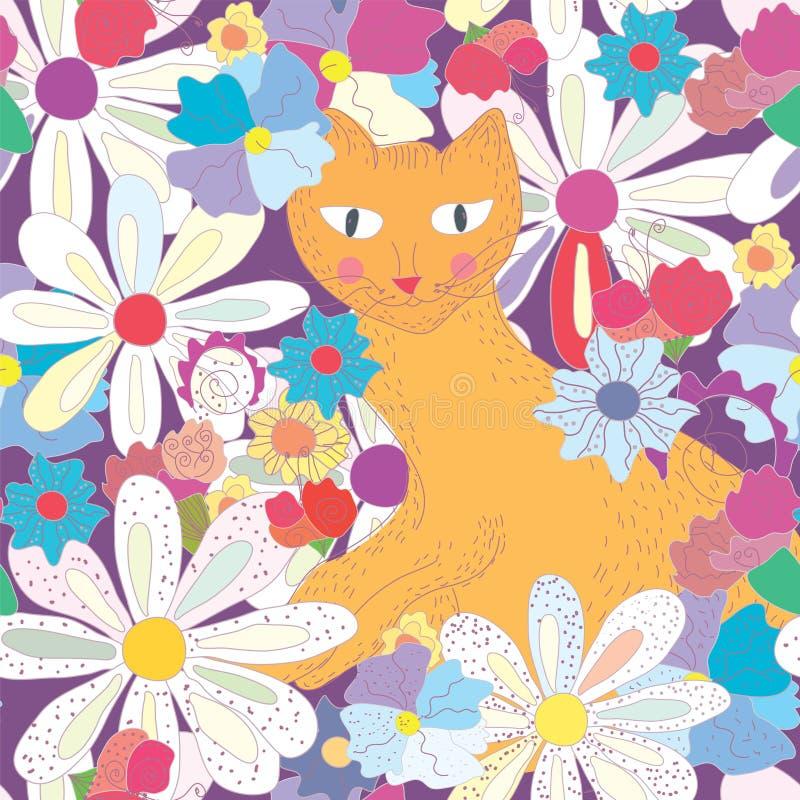 картина кота безшовная иллюстрация штока