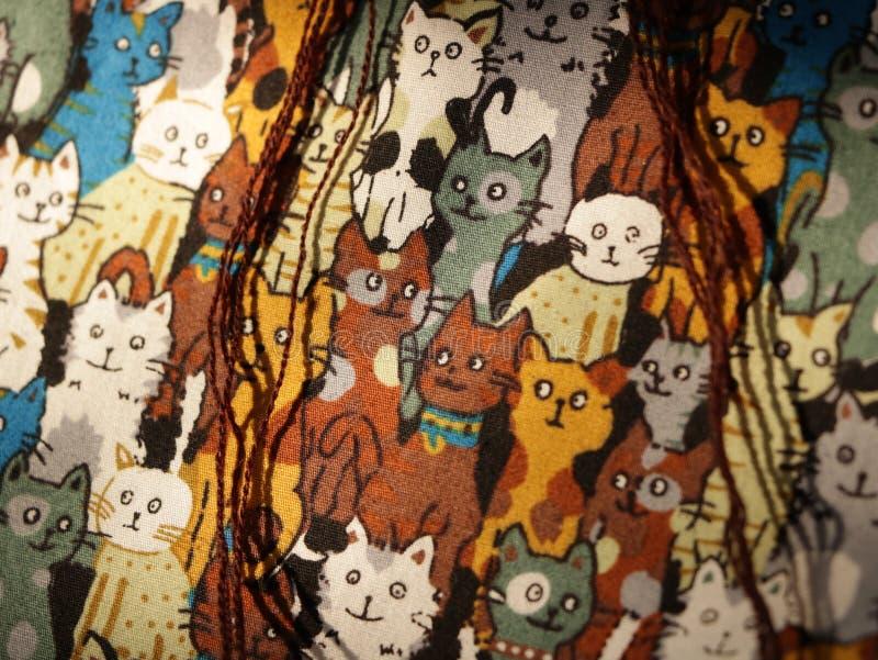Картина кота - реальная текстура ткани стоковое изображение rf