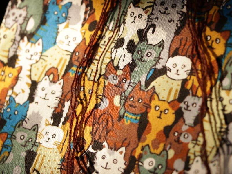 Картина кота - реальная текстура ткани стоковое изображение