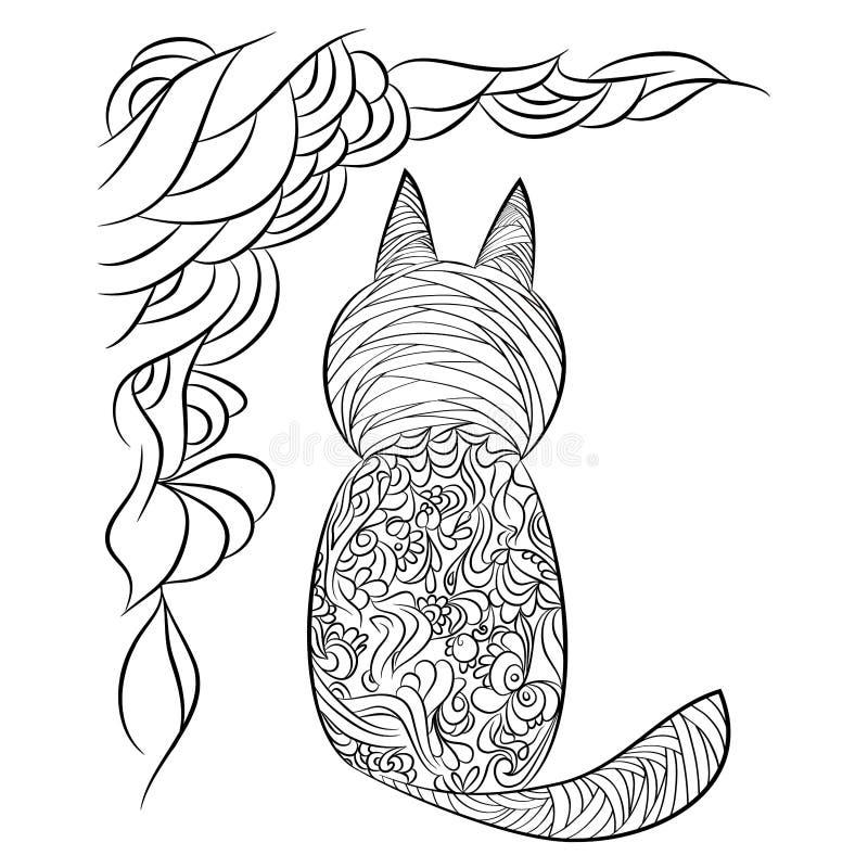 Картина кота Страница для книжка-раскраски иллюстрация вектора