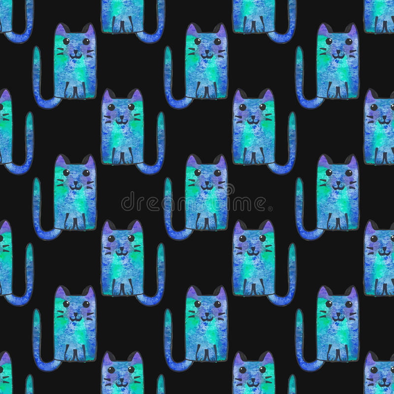 картина котов шаржа безшовная рука нарисованная предпосылкой также вектор иллюстрации притяжки corel бесплатная иллюстрация