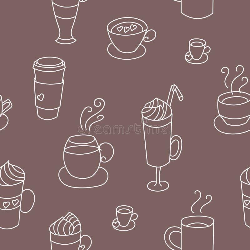 Картина кофейных чашек красочная милая безшовная бесплатная иллюстрация