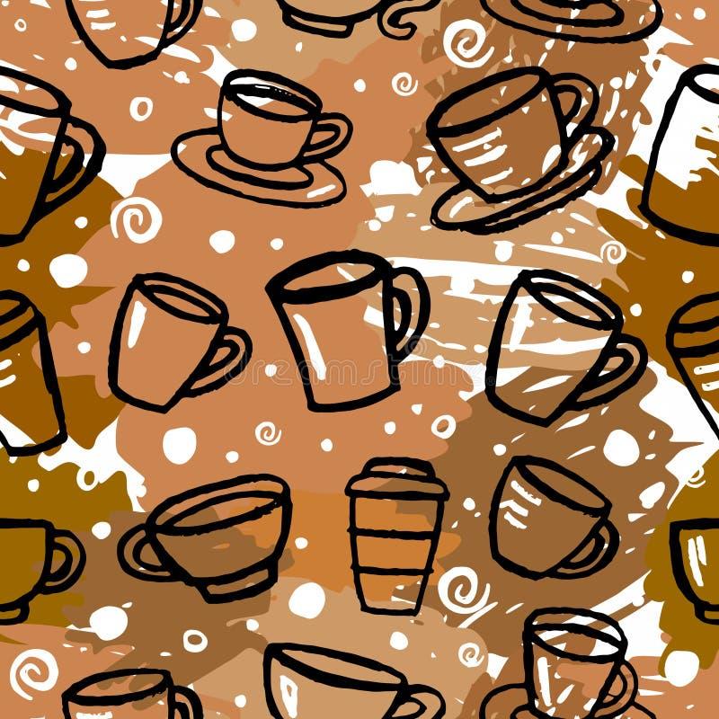 картина кофе безшовная иллюстрация штока