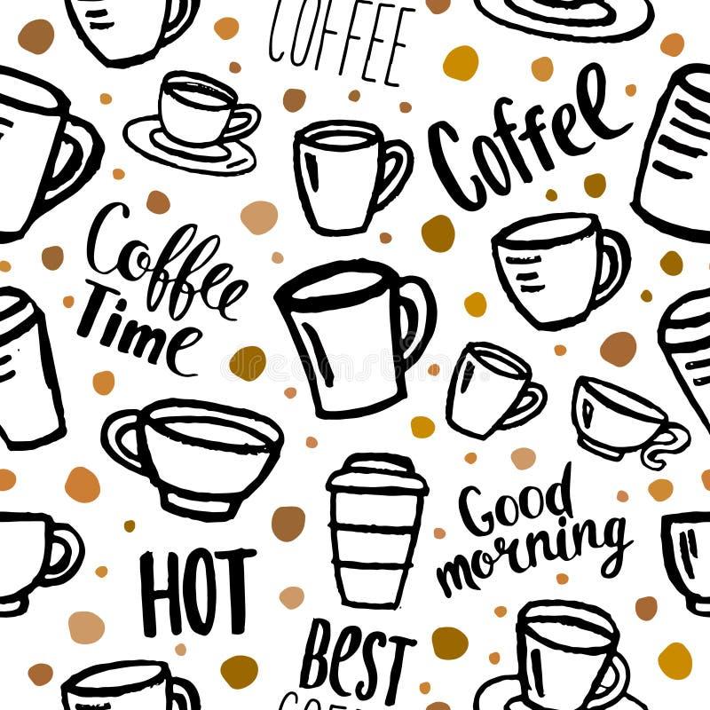 картина кофе безшовная бесплатная иллюстрация