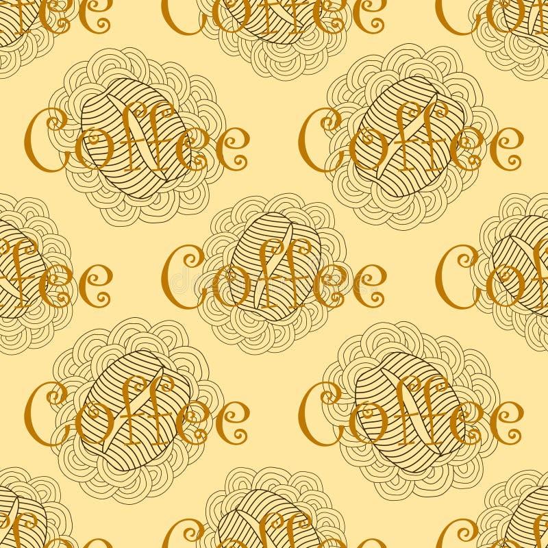 Картина кофе Брайна безшовная иллюстрация штока