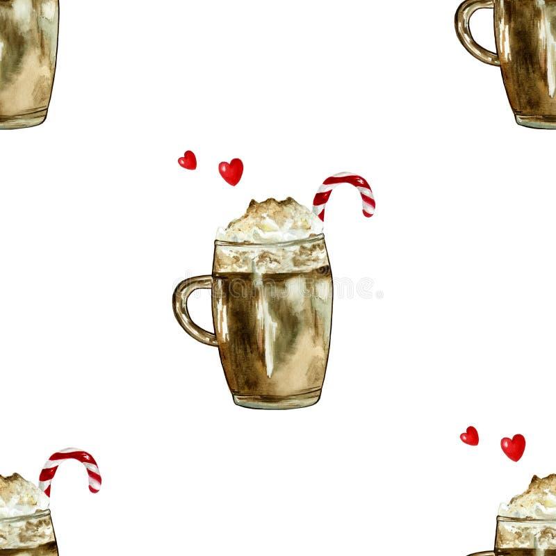 Картина кофе рождества акварели бесплатная иллюстрация