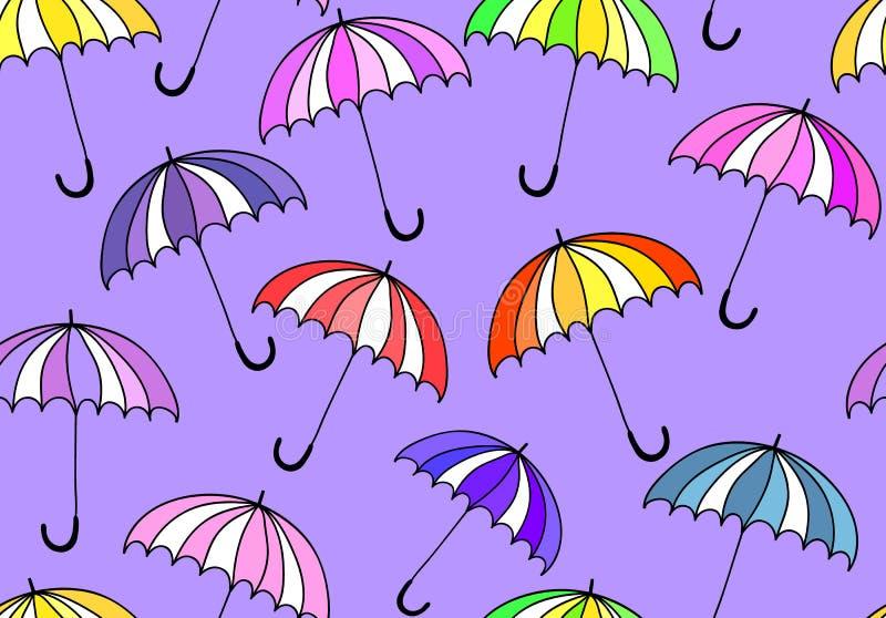 Картина красивого вектора безшовная с красочными зонтиками бесплатная иллюстрация