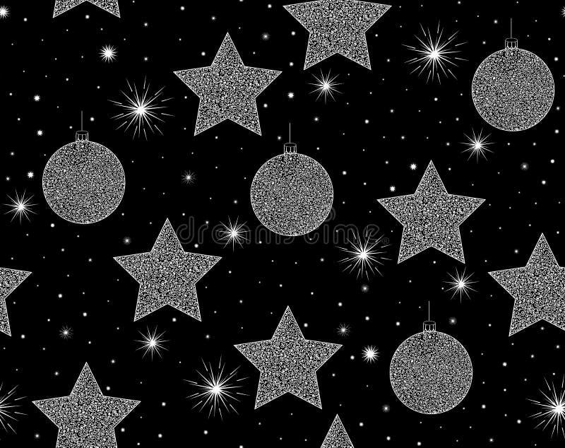 Картина красивого вектора Нового Года безшовная с украшениями рождественской елки и сияющими снежинками бесплатная иллюстрация
