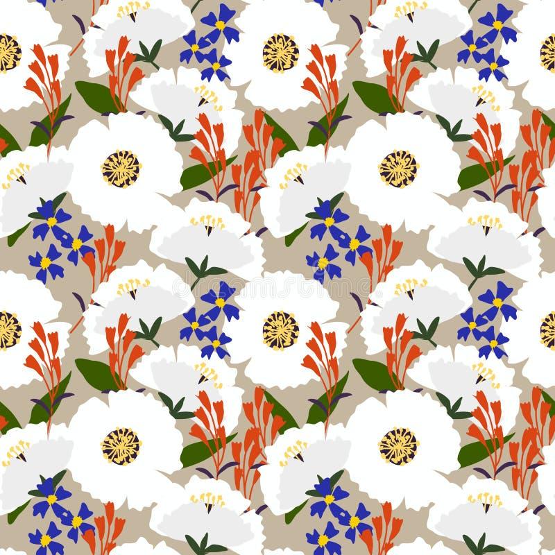 Картина красивого полевого цветка безшовная в винтажном тоне иллюстрация вектора