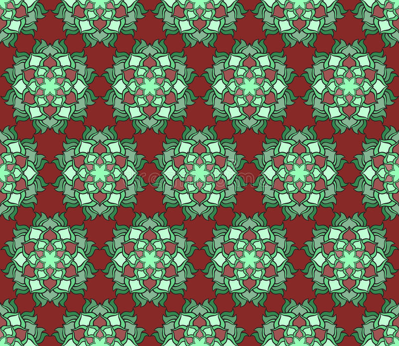Картина красивой печати вектора безшовная Цветки мандалы установленные с красной предпосылкой иллюстрация вектора