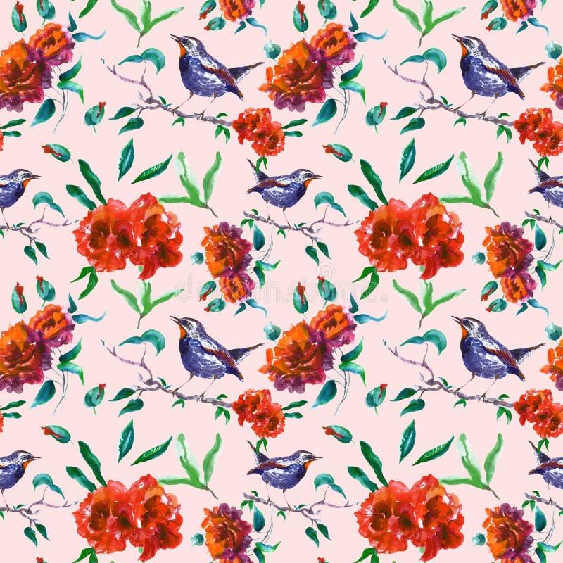 Картина красивых красных роз безшовная с птицей на ветви дерева на пинке Печать сада весны флористическая для обоев бесплатная иллюстрация