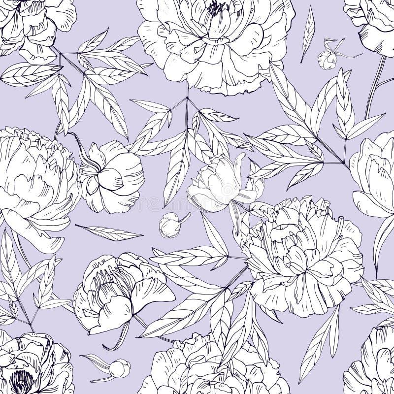 Картина красивых пионов безшовная Цветение цветет, бутоны и листья Черно-белая иллюстрация вектора иллюстрация вектора