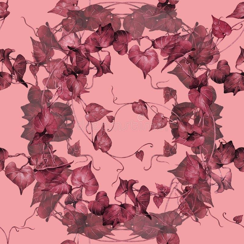 Картина красная, картина акварели розового красочного плюща листьев безшовная на розовой предпосылке Tropi дерева иллюстрации рук иллюстрация вектора