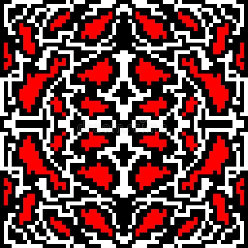 Картина красного винтажного яркого конспекта пикселов красивого безшовная геометрическая иллюстрация вектора