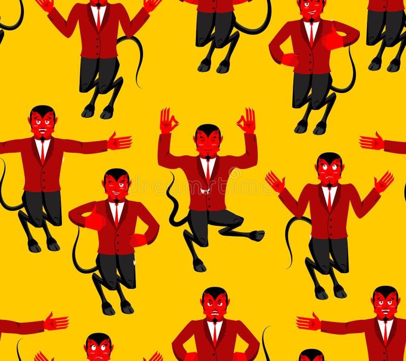 Картина красного дьявола безшовная Демон с орнаментом рожков Диаграмма  иллюстрация вектора