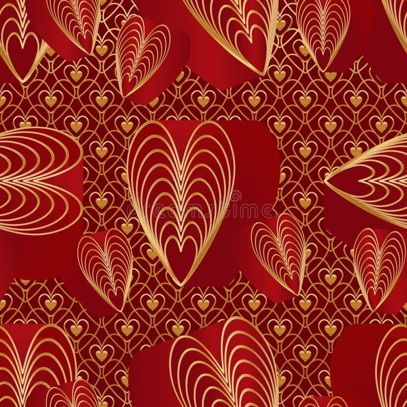 Картина красных золотых цветов влюбленности 9 безшовная иллюстрация вектора
