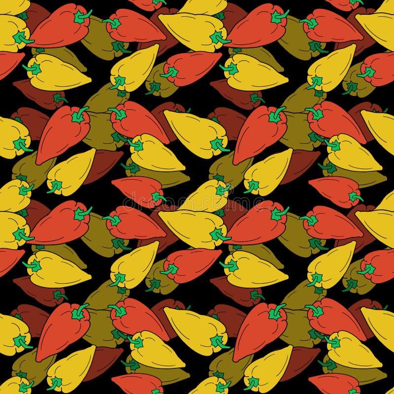 Картина красных и желтых перцев вычерченного колокола руки безшовная на черной предпосылке иллюстрация штока
