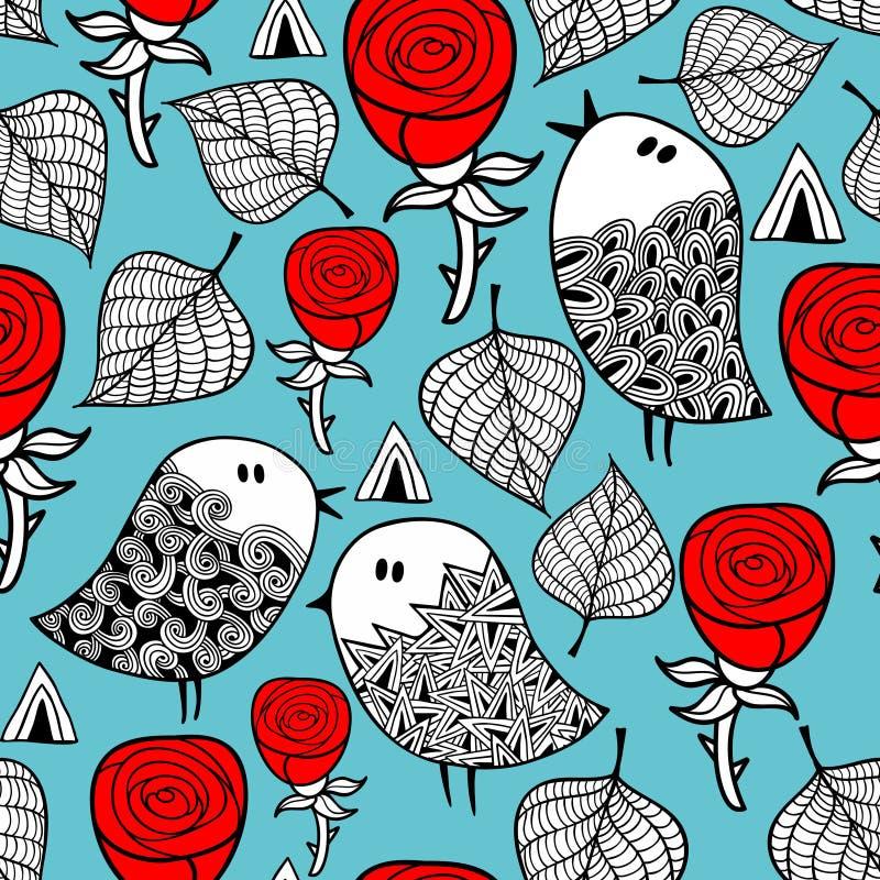Картина красных роз и романтичных птиц безшовная бесплатная иллюстрация