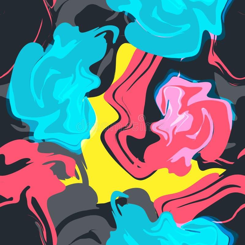 Картина красочного вектора безшовная абстрактная с брызгает иллюстрация вектора
