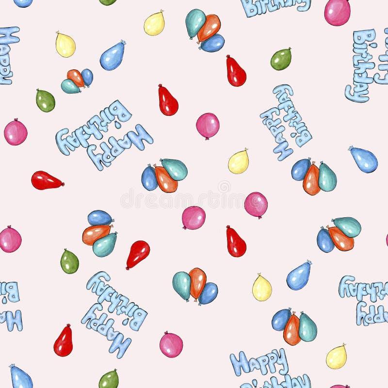 Картина красочного дня рождения пастельная с ballopns иллюстрация штока