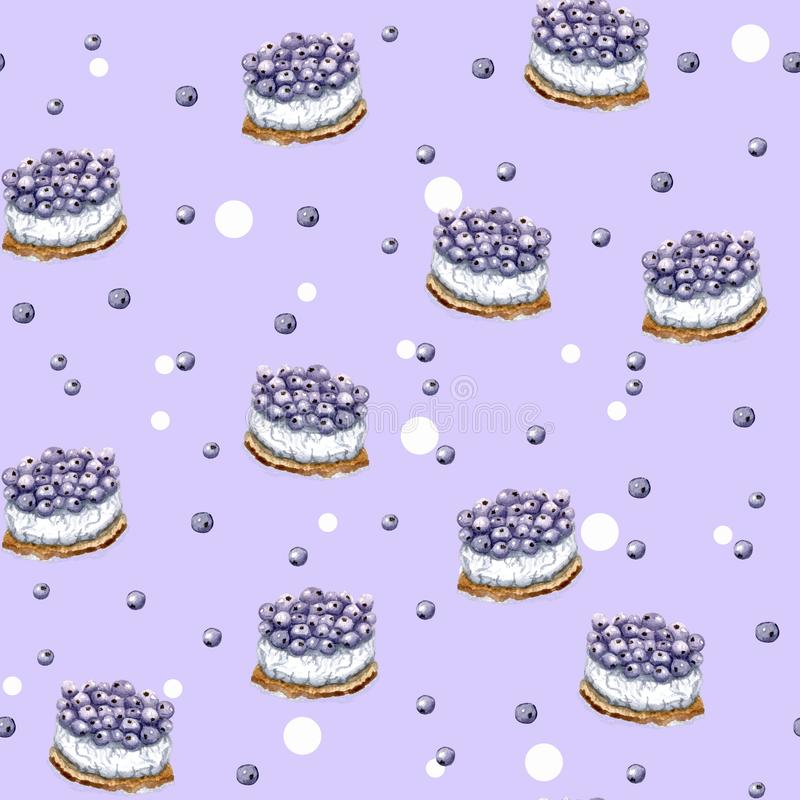 Картина красочного дня рождения пурпурная с тортами иллюстрация вектора