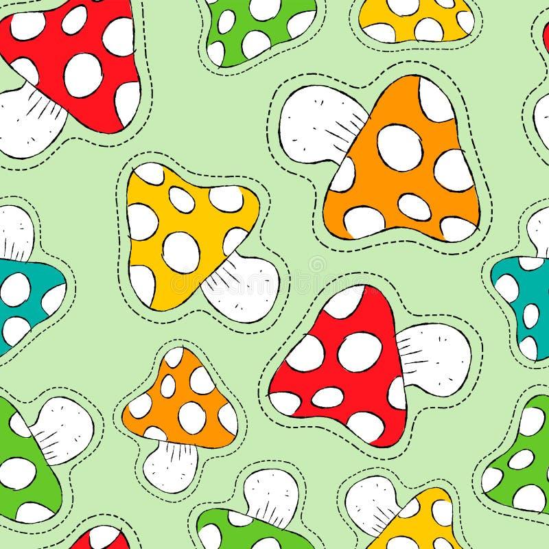 Картина красочного значка заплаты гриба безшовная иллюстрация вектора