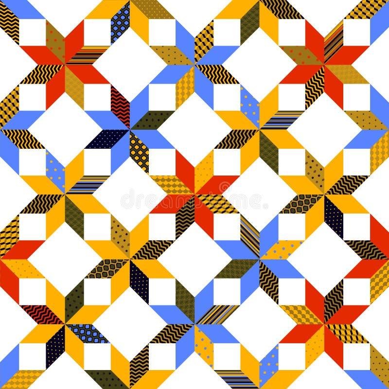 Картина красочного лоскутного одеяла ткани безшовная, вектор бесплатная иллюстрация