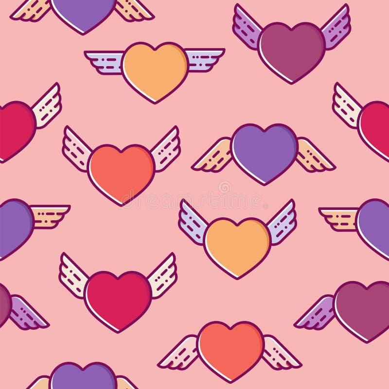 Картина красочного сердца летания безшовная Плоская линия дизайн, иллюстрация вектора на день валентинок, упаковка, ткань, одежды иллюстрация вектора