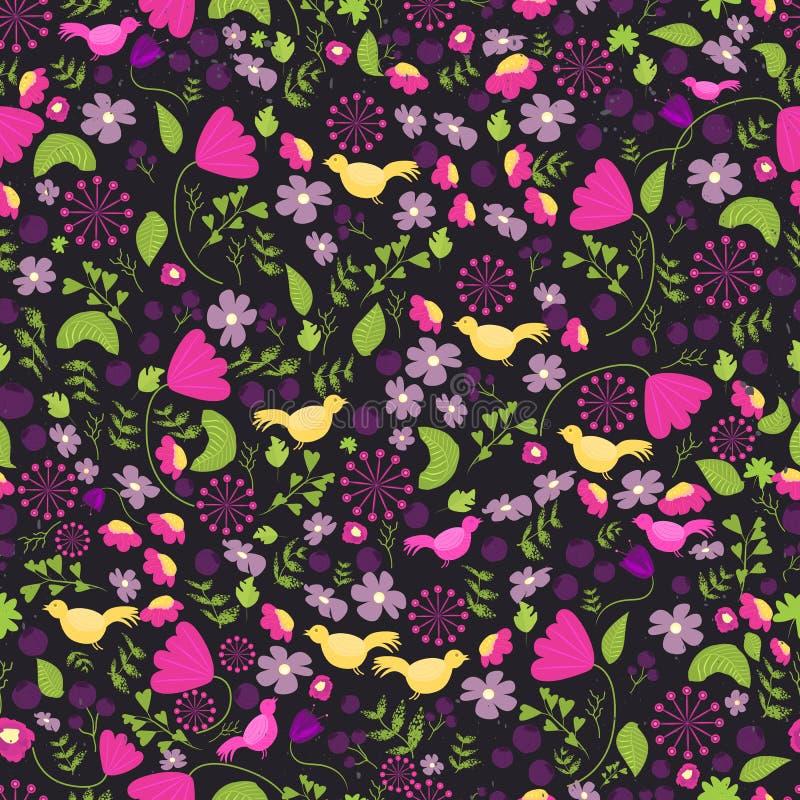 Картина красочного этнического цветка безшовная Мексиканская картина цветка Зацветите безшовная картина с листьями и птицами на т иллюстрация вектора