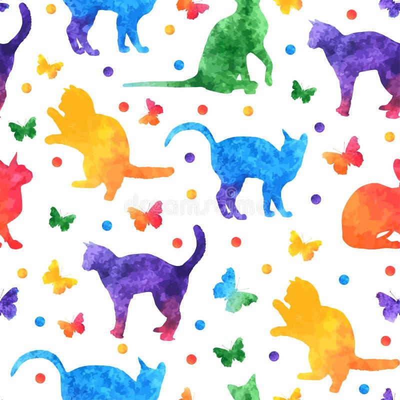 Картина красочной акварели безшовная с милыми котами и бабочками изолированными на белой предпосылке желтый цвет обоев вектора ур бесплатная иллюстрация