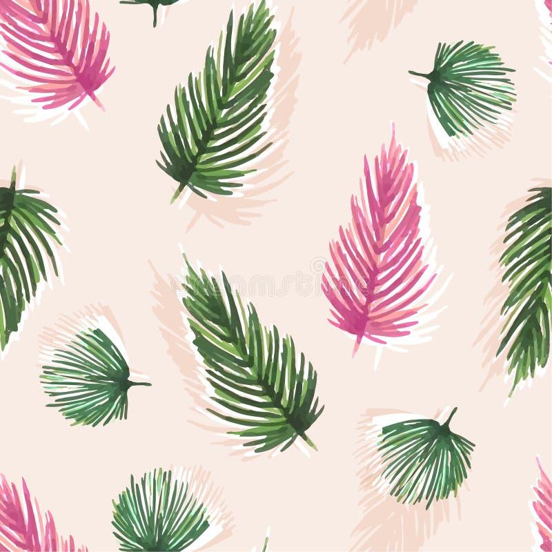 Картина красочной сладкой акварели безшовная с тропическими листьями иллюстрация вектора