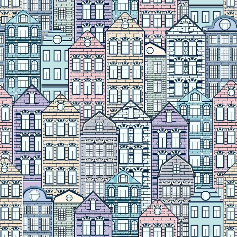 Картина красочных домов безшовная, предпосылка города, городской ландшафт Пестротканый пастельный европейский дом кирпича, плоски бесплатная иллюстрация