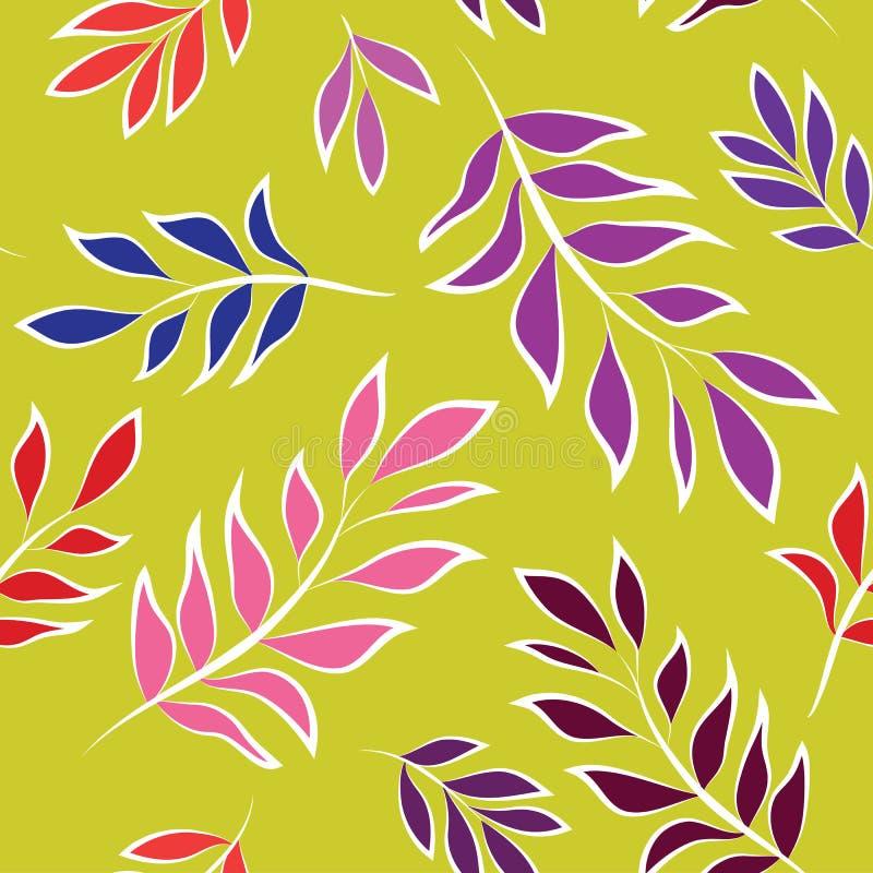 Картина красочных и ярких листьев безшовная на зеленом цвете иллюстрация штока