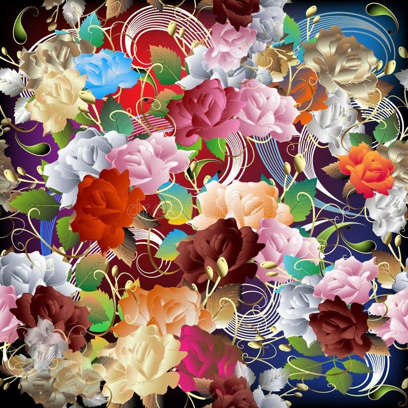 Картина красочных ярких цветков роз безшовная Орнаментальная предпос иллюстрация штока