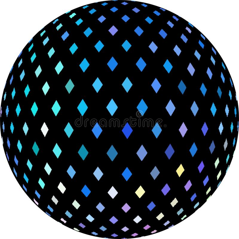 Картина кристаллической мозаики shimmer голубая на черном графике сферы 3d иллюстрация штока