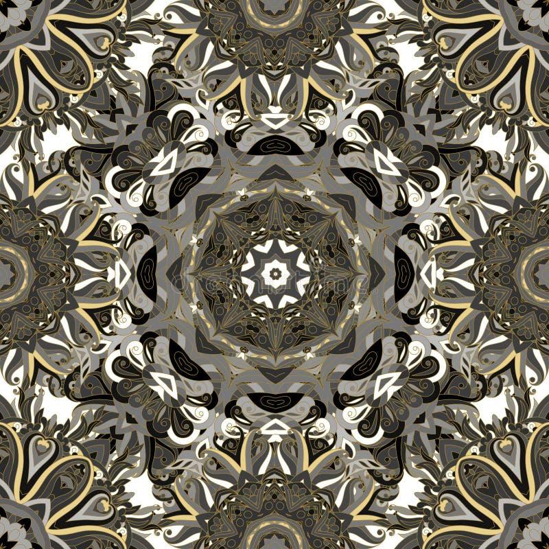 Картина круглой мандалы безшовная Арабский, индийский, исламский, орнамент тахты Зеленый и красный цветочный узор, мотив стоковое изображение rf