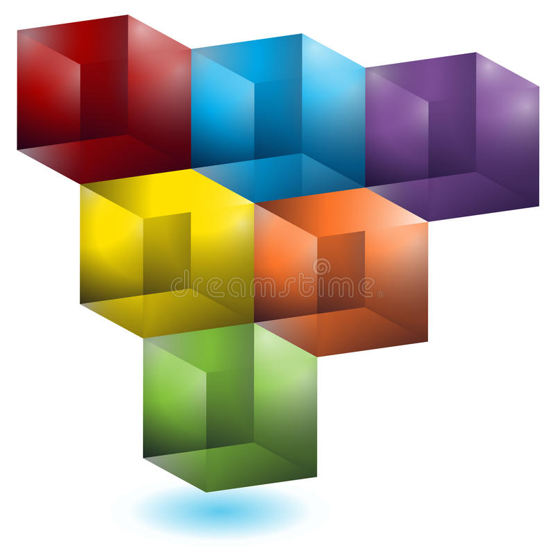 картина кубика геометрическая иллюстрация вектора