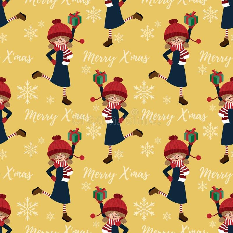 """Картина курортного сезона рождества безшовная с милой девушкой в подарочной коробке удерживания таможни зимы, снежинках и """"тексте бесплатная иллюстрация"""