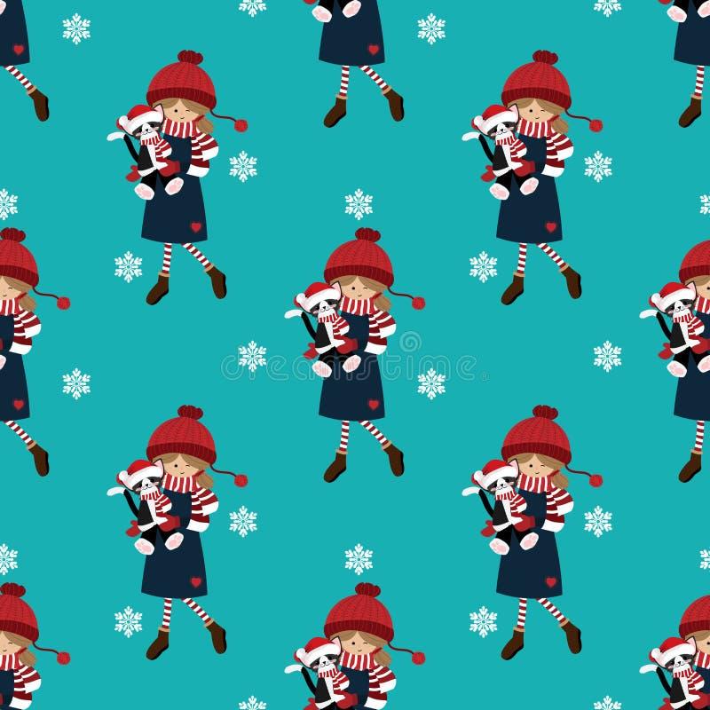 Картина курортного сезона рождества безшовная с милой девушкой в таможне зимы с милой куклой и снежинками кота иллюстрация вектора