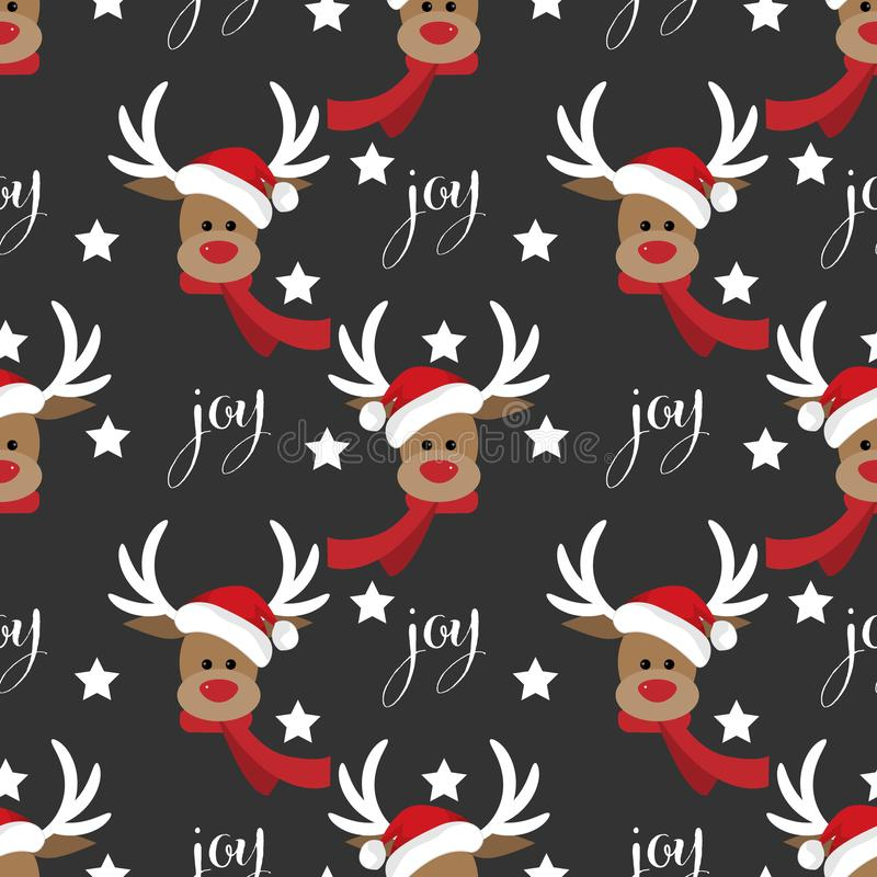 Картина курортного сезона рождества безшовная с северным оленем Санта Клаусом со звездой и текстом утехи бесплатная иллюстрация