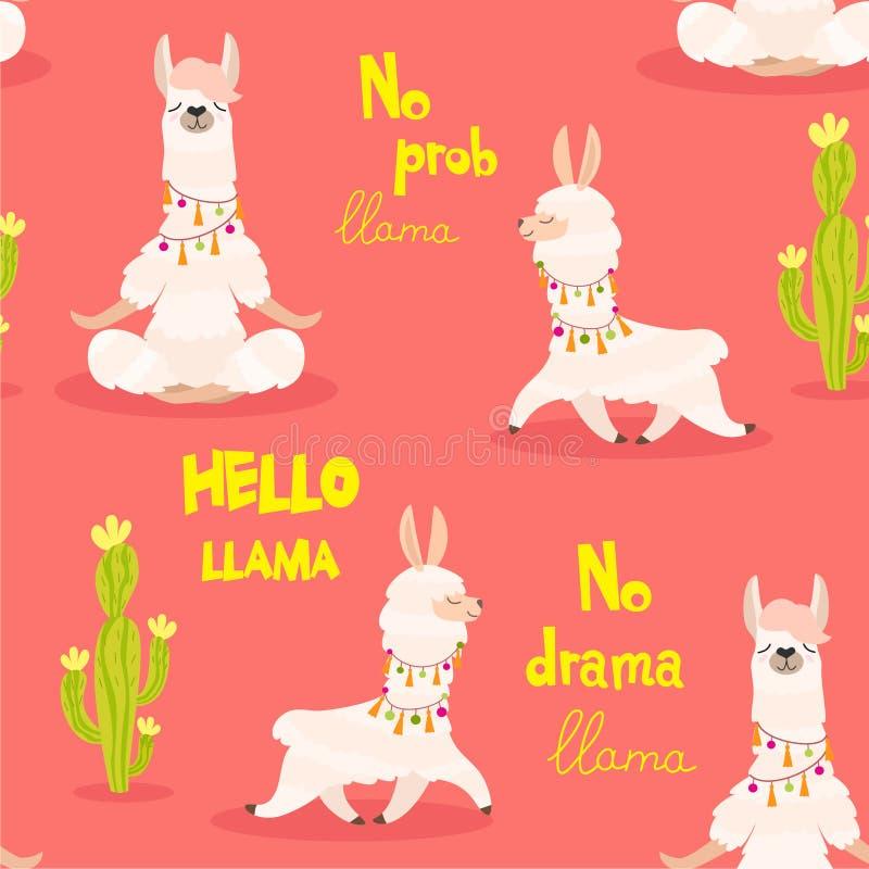 Картина лама безшовный вектор текстуры бесплатная иллюстрация