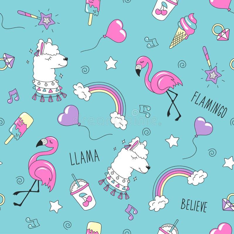 Картина ламы и фламинго на розовой предпосылке Красочная ультрамодная безшовная картина Чертеж иллюстрации моды в современном сти иллюстрация вектора