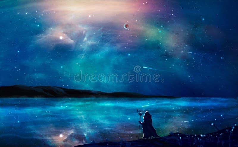 Картина ландшафта научной фантастики цифровая с межзвёздным облаком, волшебником, планета, иллюстрация штока