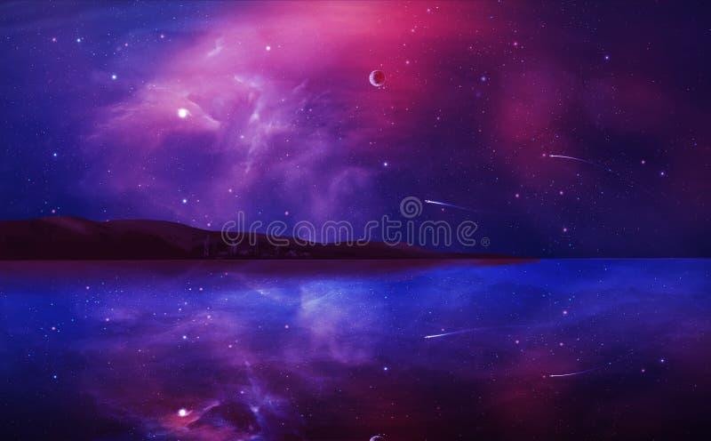 Картина ландшафта научной фантастики цифровая с межзвёздным облаком, планетой и озером i бесплатная иллюстрация