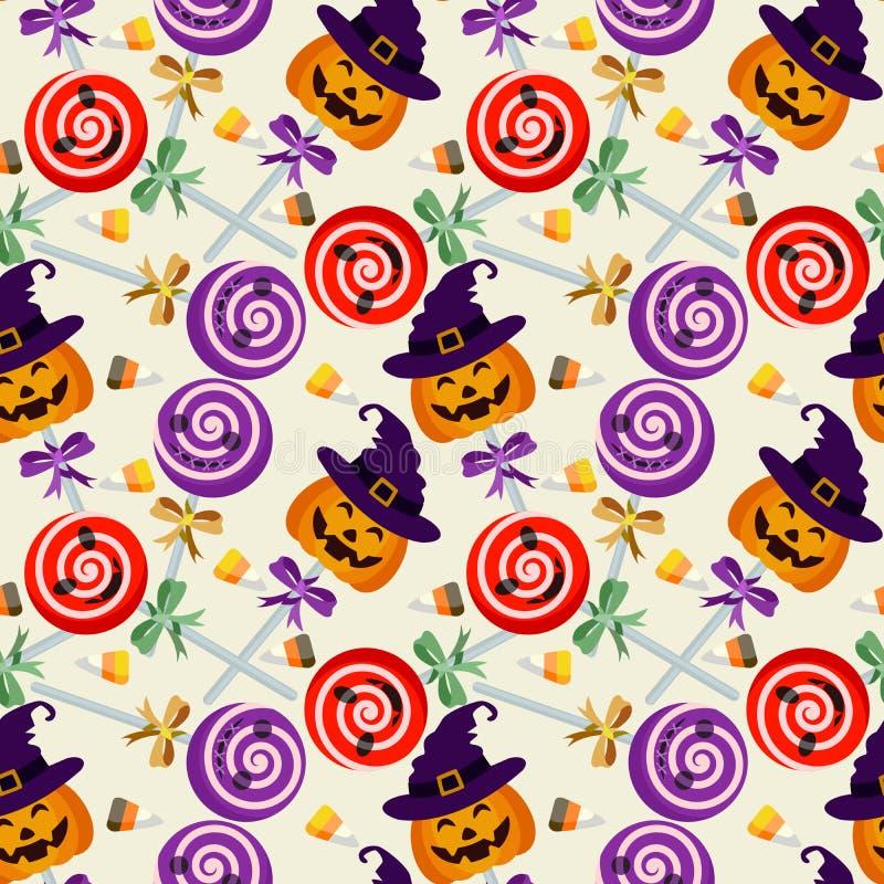 Картина леденца на палочке хеллоуина безшовная иллюстрация штока