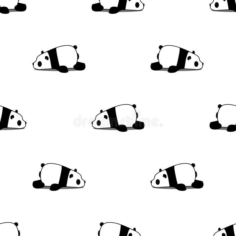 Картина ленивого шаржа панды безшовная на белой предпосылке, векторе иллюстрация штока