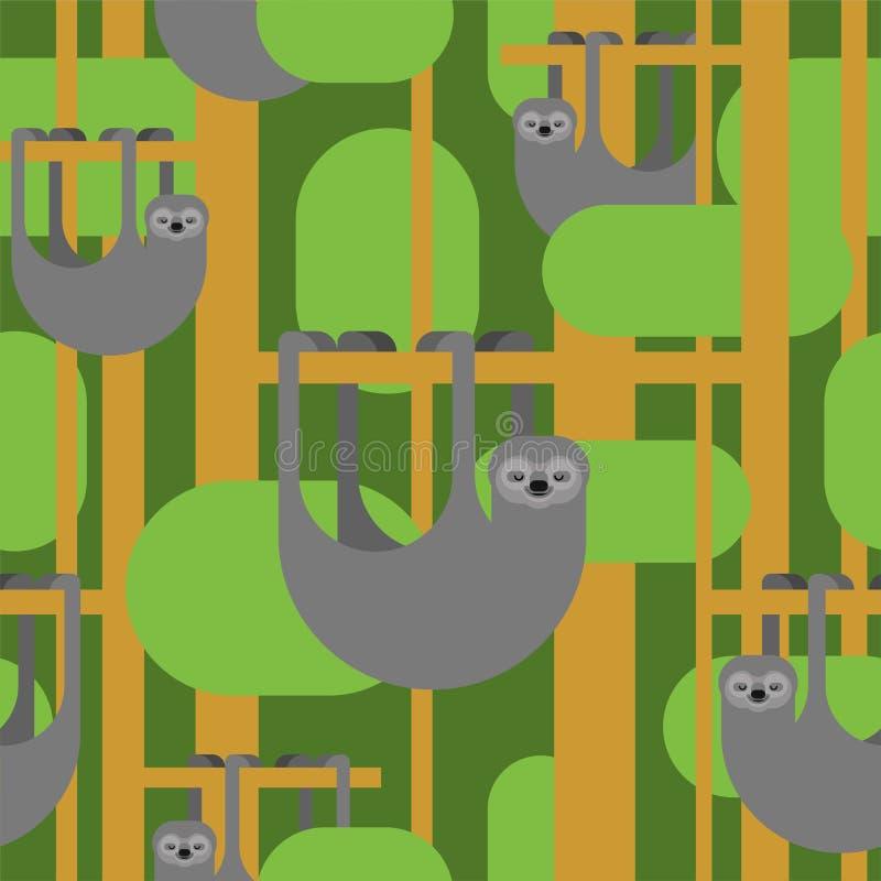 Картина лени безшовная предпосылка мультфильма lazybones животная самый лучший оригинал download печатает готовую текстуру для то иллюстрация вектора