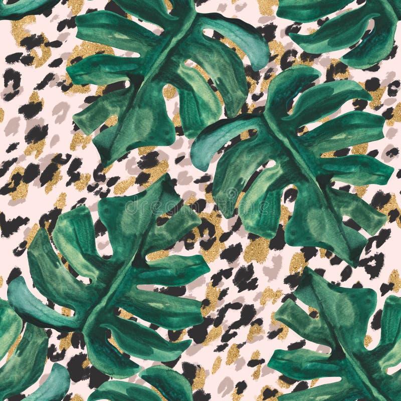 Картина лета абстрактная безшовная: сверкная тропические листья, меховая шыба леопарда воодушевили печать шкуры иллюстрация штока