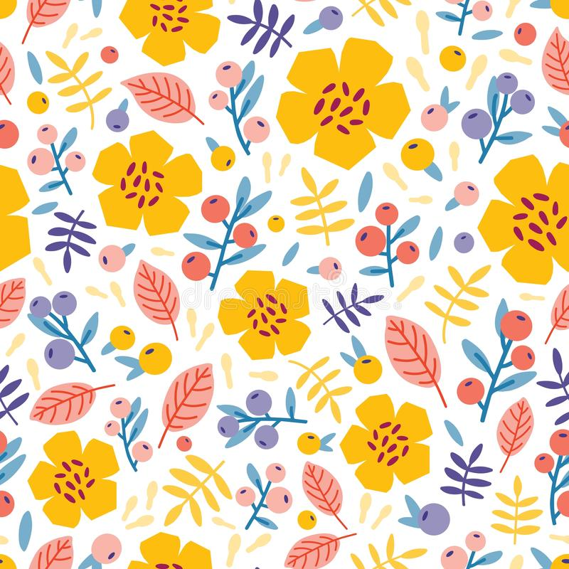 Картина лета безшовная с зацветая заводами на белой предпосылке Флористический фон с цветками и ягодами луга r иллюстрация штока